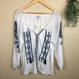 Lucky Brand | Embroidered Tassle Blouse